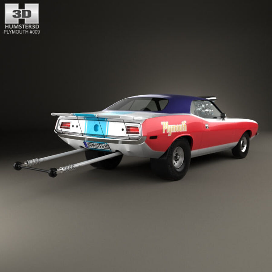 Plymouth Barracuda Dragster 1974 royalty-free 3d model - Preview no. 2