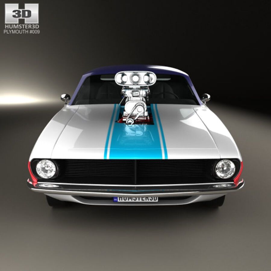 Plymouth Barracuda Dragster 1974 royalty-free 3d model - Preview no. 10