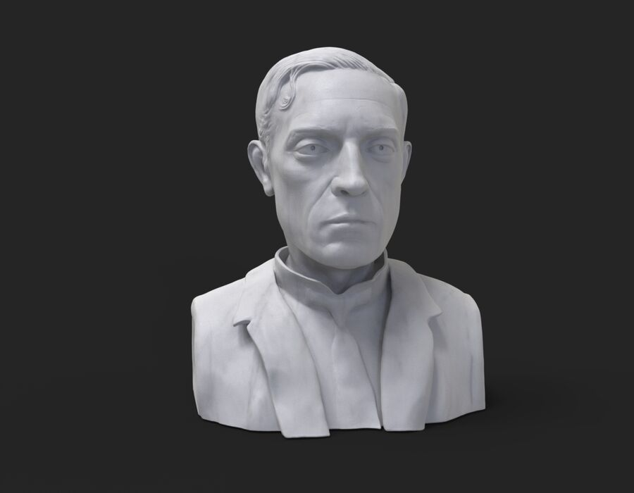 Buster Keaton busto royalty-free 3d model - Preview no. 3