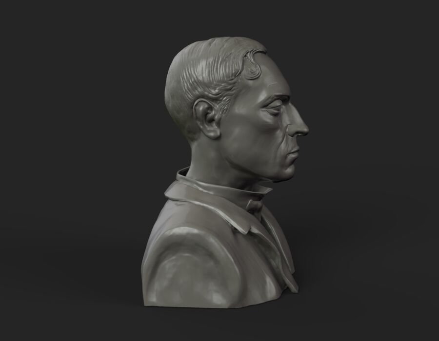 Buster Keaton busto royalty-free 3d model - Preview no. 7