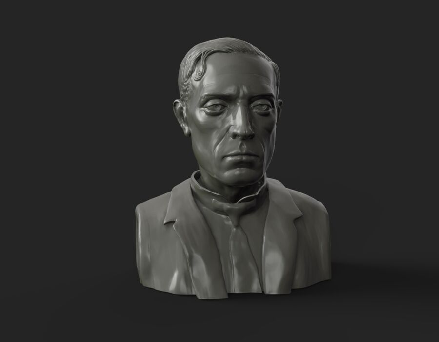 Buster Keaton busto royalty-free 3d model - Preview no. 5