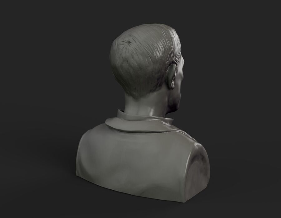 Buster Keaton buste royalty-free 3d model - Preview no. 6