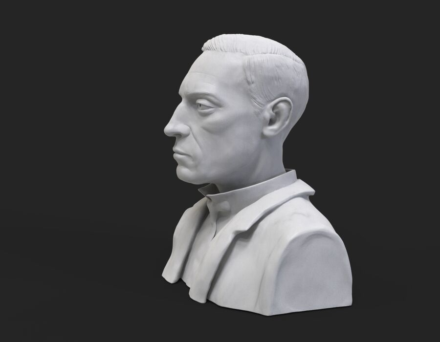 Buster Keaton buste royalty-free 3d model - Preview no. 2