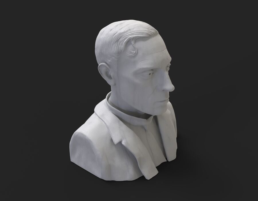 Buster Keaton busto royalty-free 3d model - Preview no. 4
