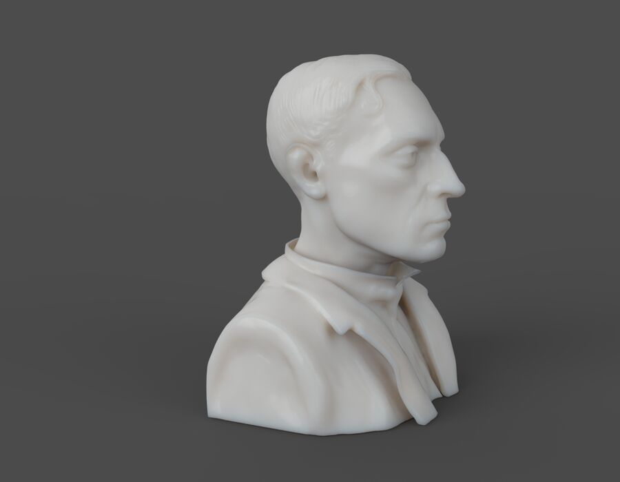 Buster Keaton busto royalty-free 3d model - Preview no. 9
