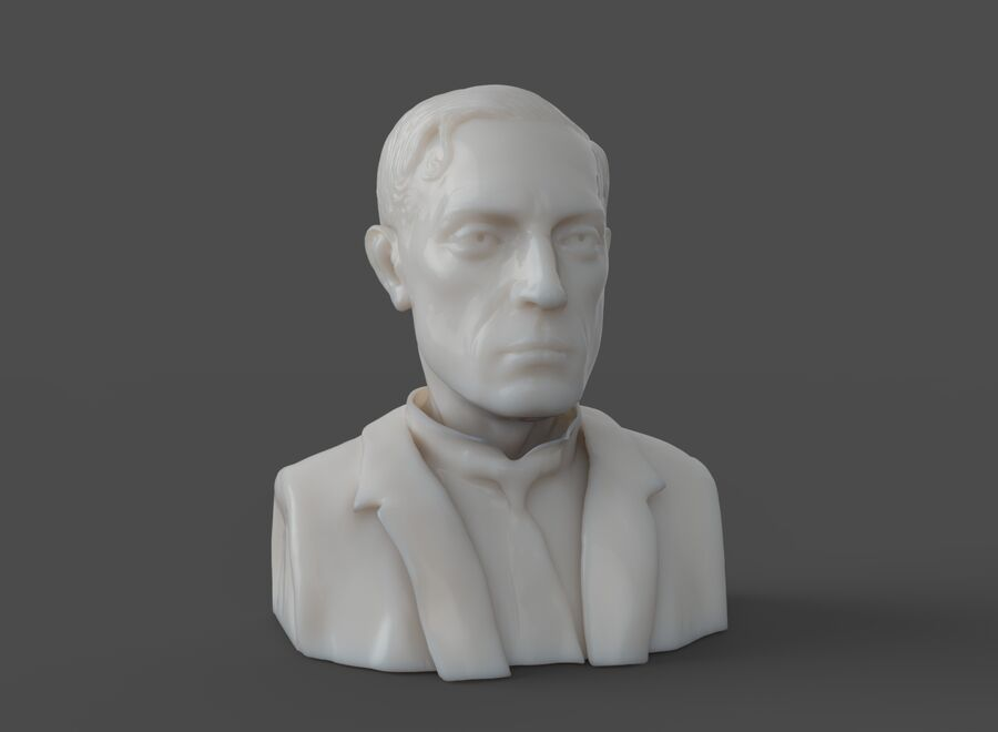 Buster Keaton busto royalty-free 3d model - Preview no. 8