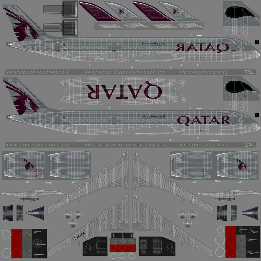 A350-900-卡塔尔 royalty-free 3d model - Preview no. 22