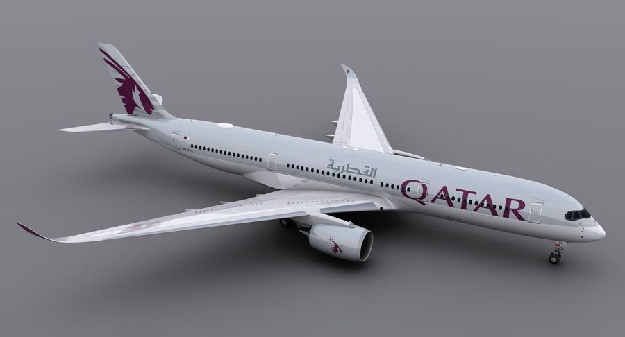 A350-900-卡塔尔 royalty-free 3d model - Preview no. 3