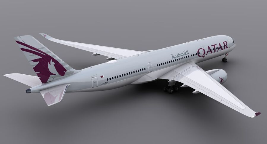 A350-900-卡塔尔 royalty-free 3d model - Preview no. 4