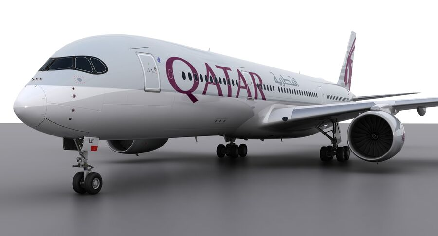 A350-900-卡塔尔 royalty-free 3d model - Preview no. 12