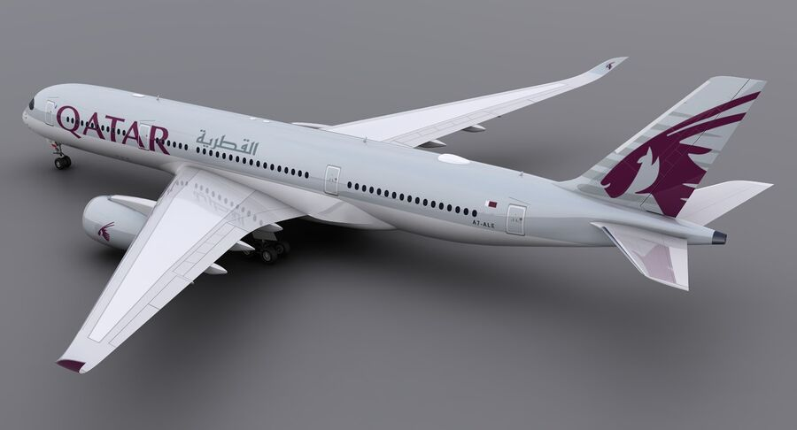 A350-900-卡塔尔 royalty-free 3d model - Preview no. 6