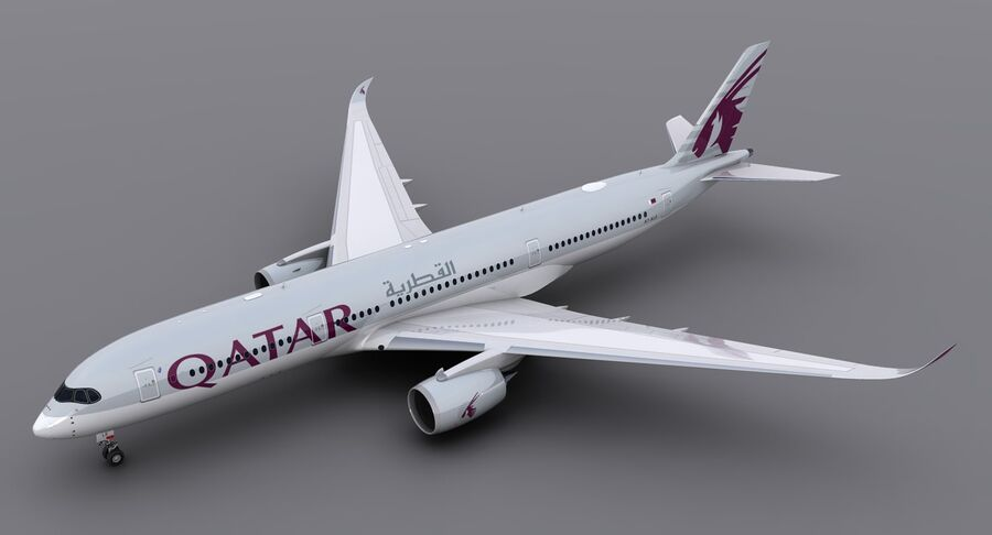 A350-900-卡塔尔 royalty-free 3d model - Preview no. 5