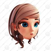 Modèle de tête de fille 3D stylisée # 2 Version finale 3d model