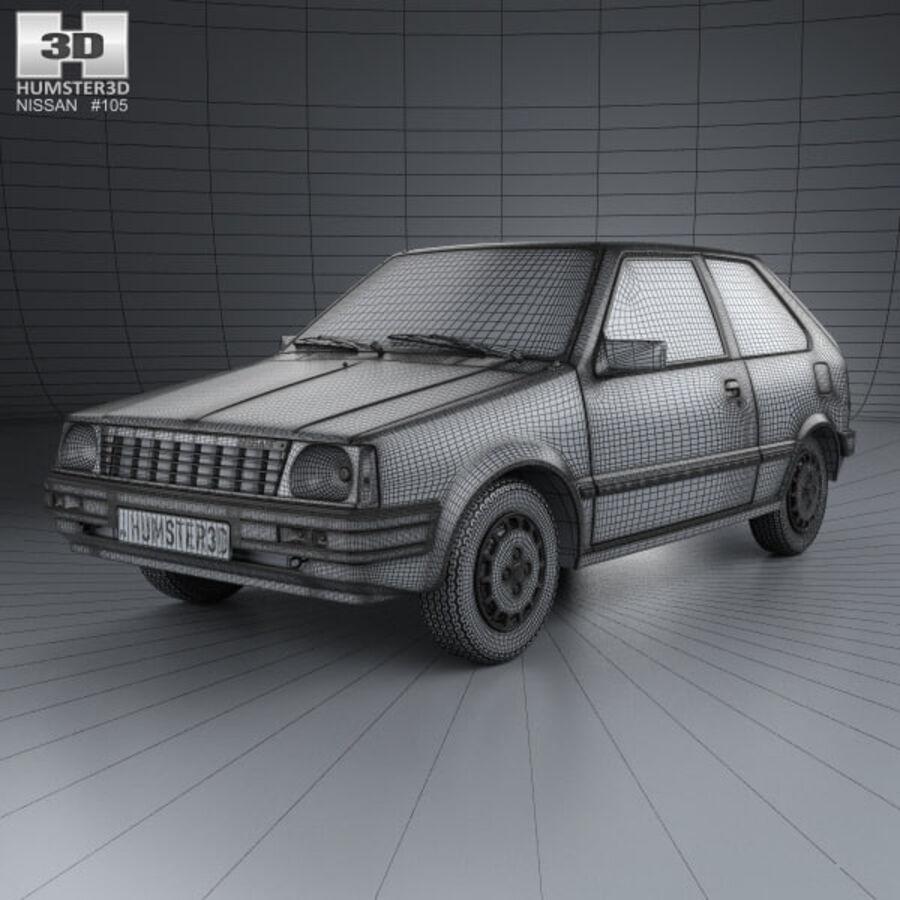 日产Micra 3-door 1982 royalty-free 3d model - Preview no. 3