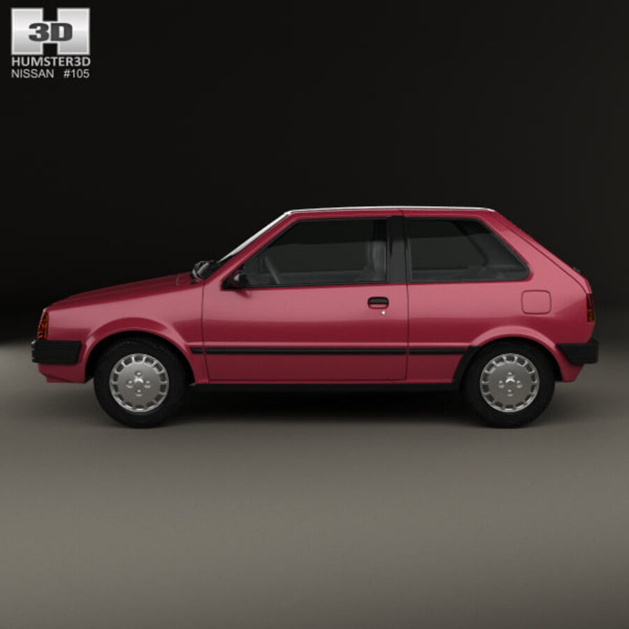 日产Micra 3-door 1982 royalty-free 3d model - Preview no. 5