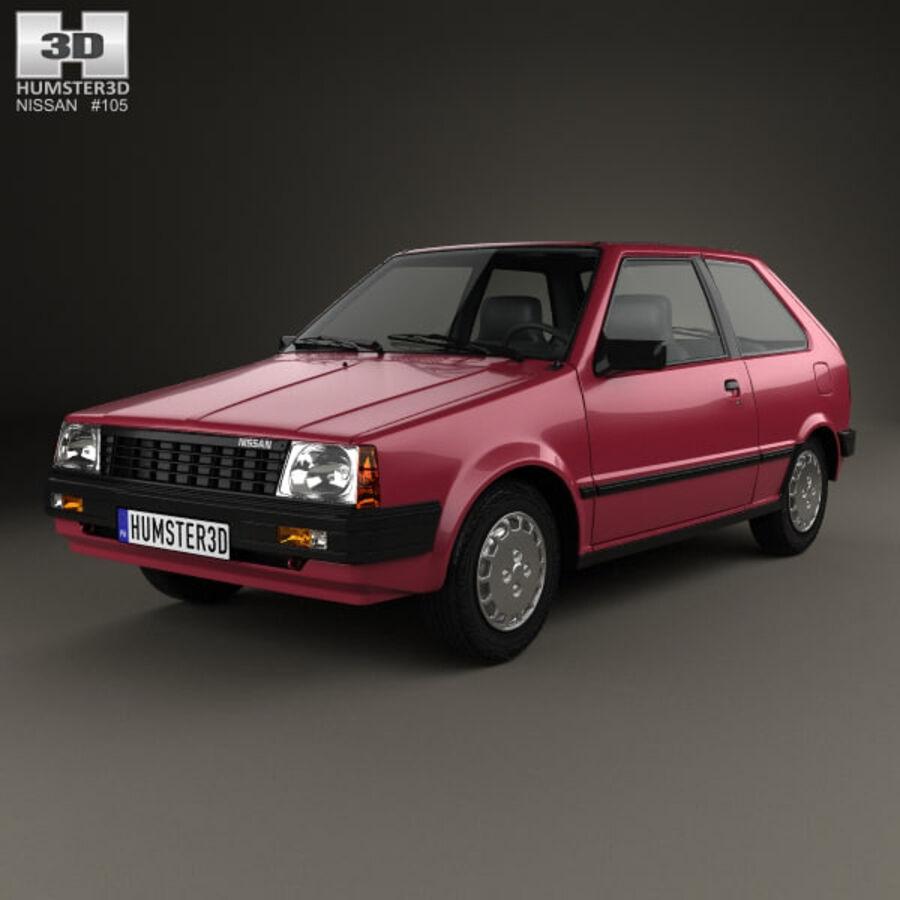 日产Micra 3-door 1982 royalty-free 3d model - Preview no. 1