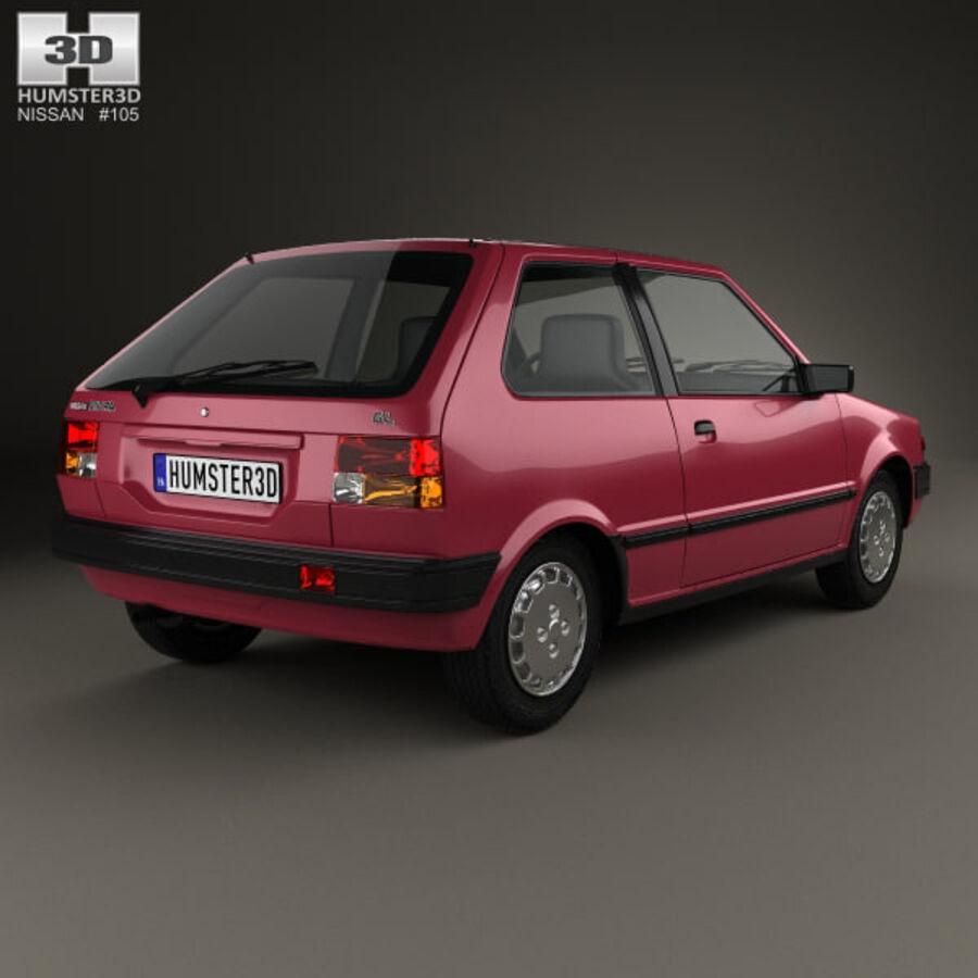 日产Micra 3-door 1982 royalty-free 3d model - Preview no. 2
