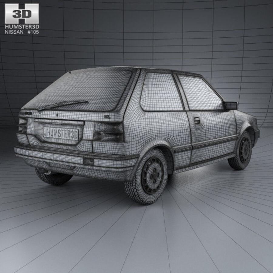 日产Micra 3-door 1982 royalty-free 3d model - Preview no. 4