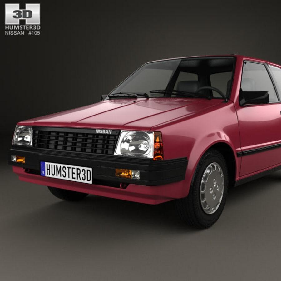 日产Micra 3-door 1982 royalty-free 3d model - Preview no. 6