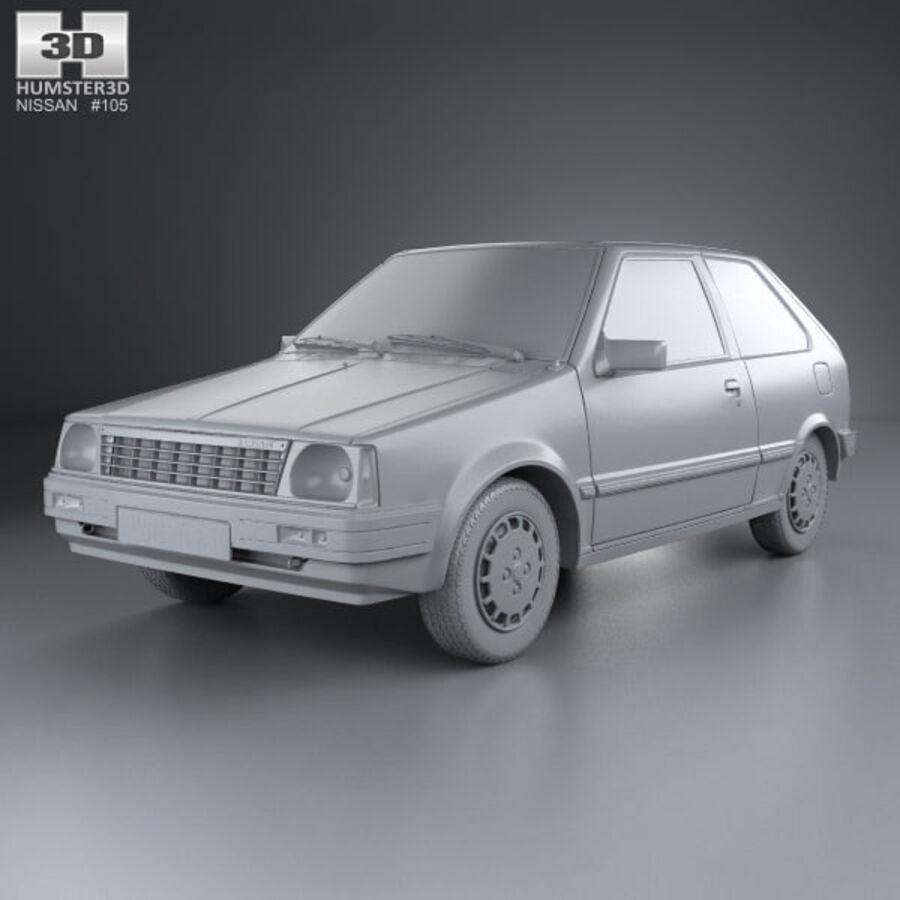 日产Micra 3-door 1982 royalty-free 3d model - Preview no. 11