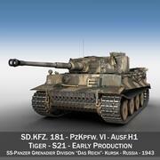 Panzer VI - Tiger - S21 - Раннее производство 3d model