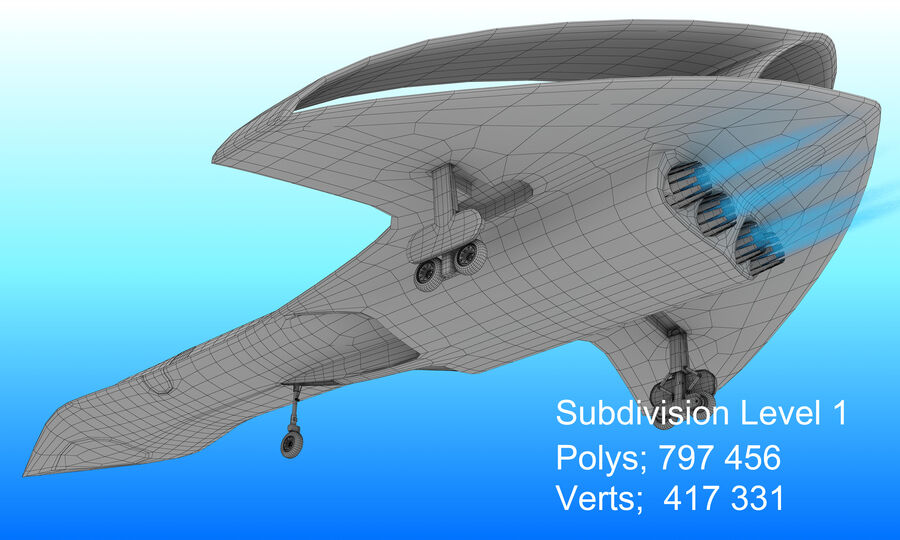 Supersonic Business Class Aircraft royalty-free 3d model - Preview no. 30