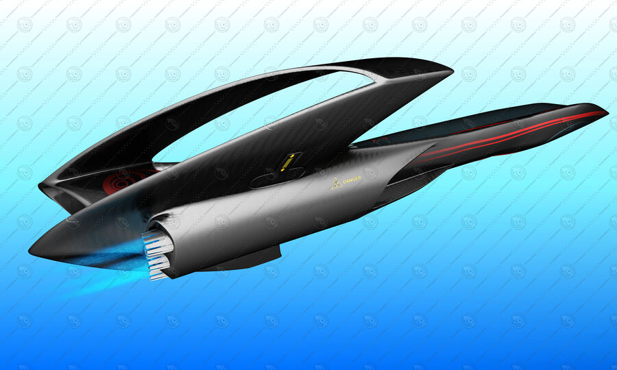Supersonic Business Class Aircraft royalty-free 3d model - Preview no. 8