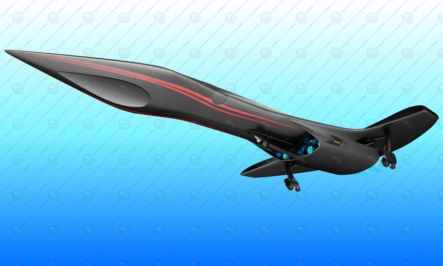 Supersonic Business Class Aircraft royalty-free 3d model - Preview no. 12