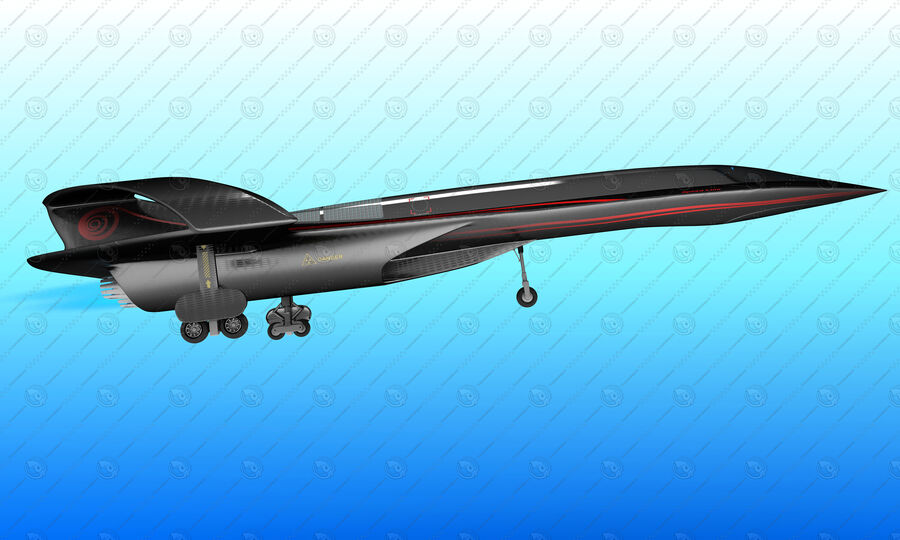 Supersonic Business Class Aircraft royalty-free 3d model - Preview no. 13