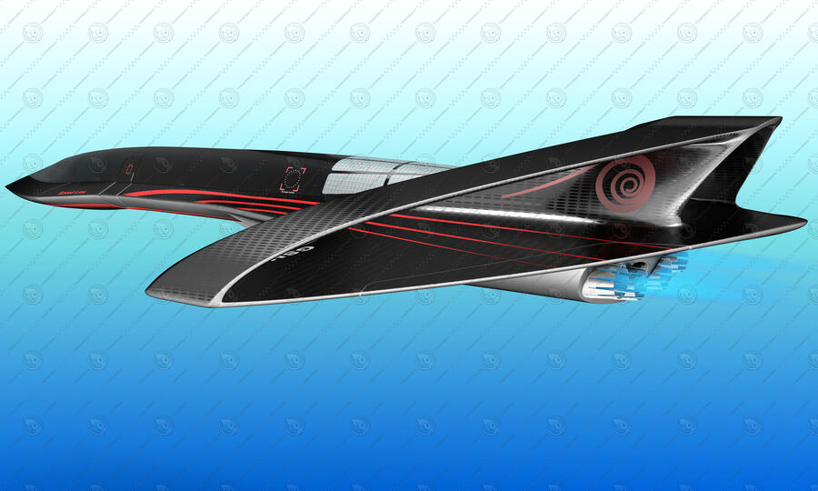Supersonic Business Class Aircraft royalty-free 3d model - Preview no. 16