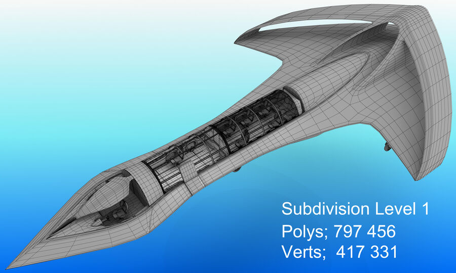 Supersonic Business Class Aircraft royalty-free 3d model - Preview no. 29