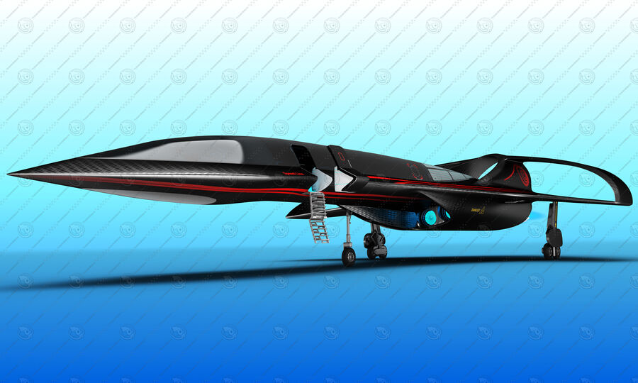 Supersonic Business Class Aircraft royalty-free 3d model - Preview no. 17