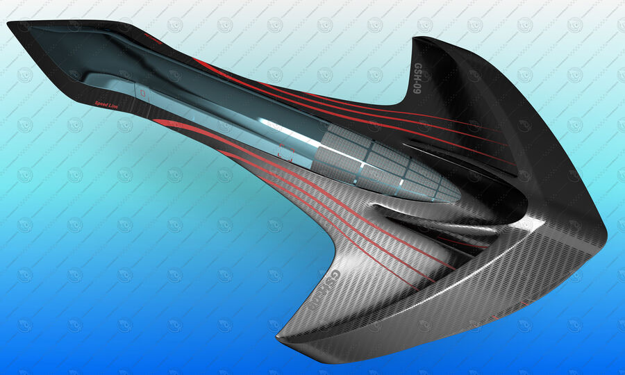 Supersonic Business Class Aircraft royalty-free 3d model - Preview no. 11