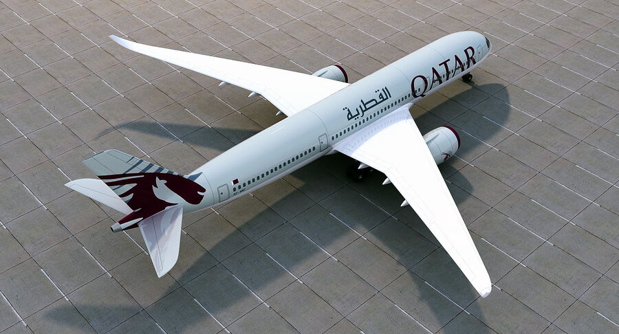 Airbus A350-900 Quatar Airlines royalty-free 3d model - Preview no. 8