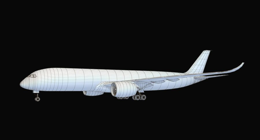 Airbus A350-900 Quatar Airlines royalty-free 3d model - Preview no. 12
