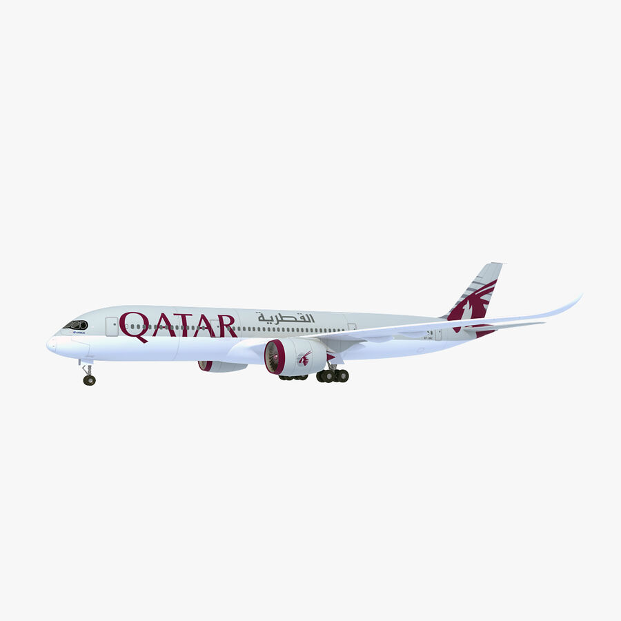 Airbus A350-900 Quatar Airlines royalty-free 3d model - Preview no. 1