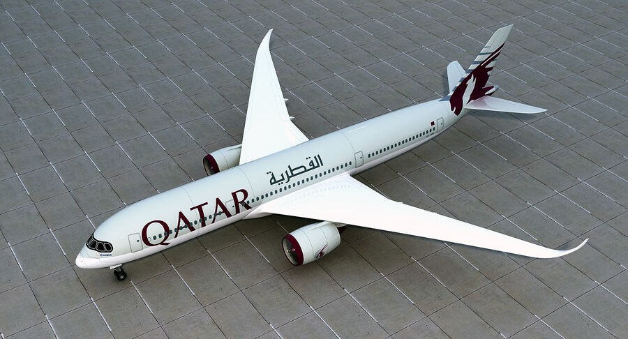 Airbus A350-900 Quatar Airlines royalty-free 3d model - Preview no. 4