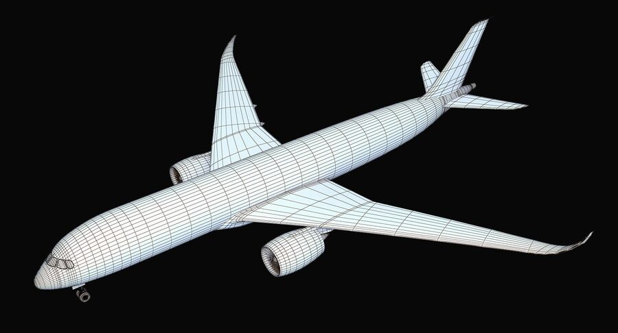 Airbus A350-900 Quatar Airlines royalty-free 3d model - Preview no. 13