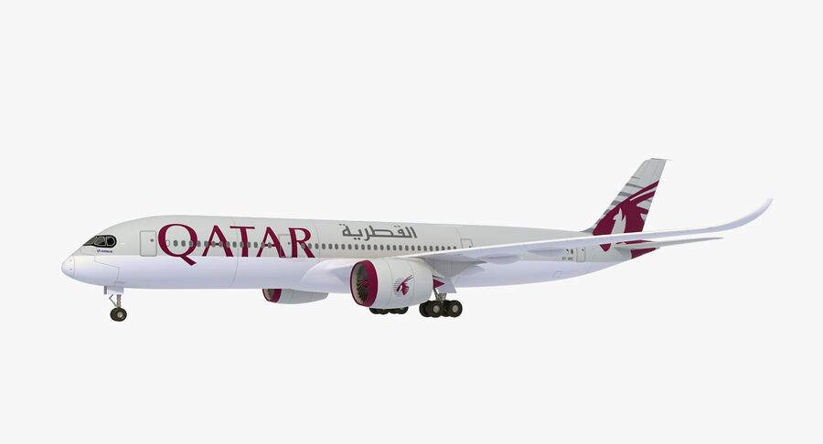 Airbus A350-900 Quatar Airlines royalty-free 3d model - Preview no. 2