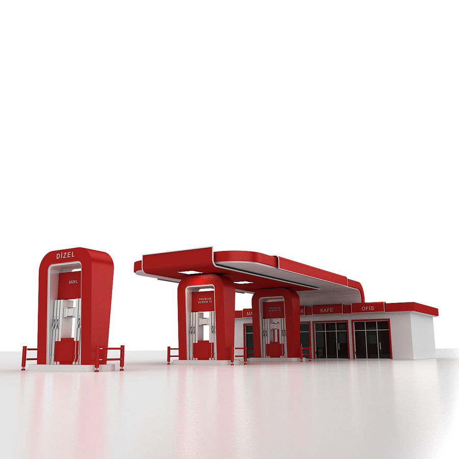 Gas Station royalty-free 3d model - Preview no. 13