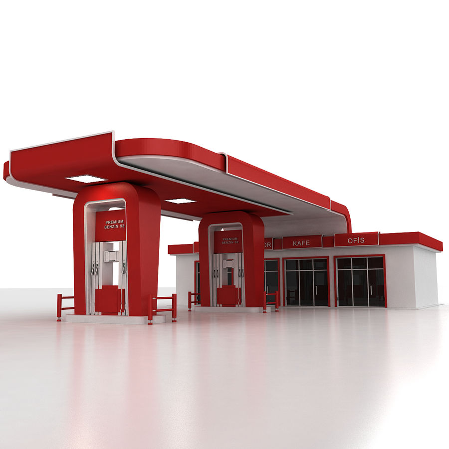 Gas station royalty-free 3d model - Preview no. 5
