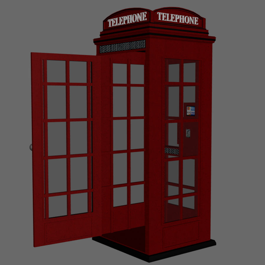 Telephone Booth royalty-free 3d model - Preview no. 3