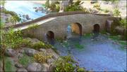 Puente sobre el paisaje del río modelo 3d