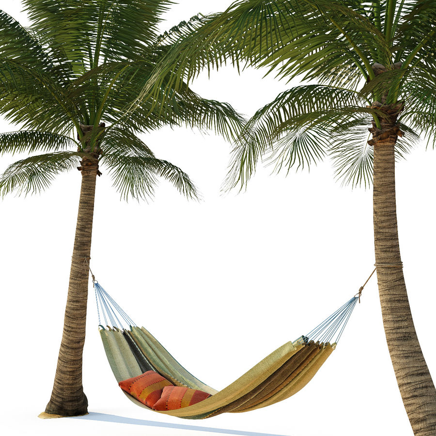 Hammock on palm trees royalty-free 3d model - Preview no. 3