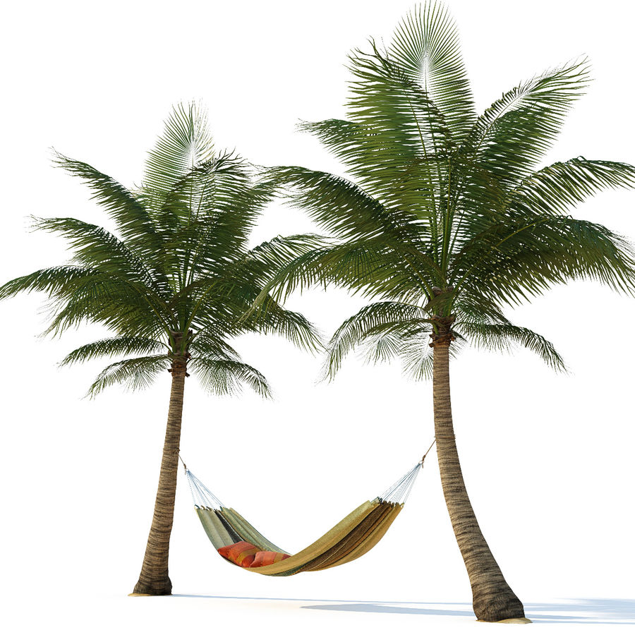 Hammock on palm trees royalty-free 3d model - Preview no. 1