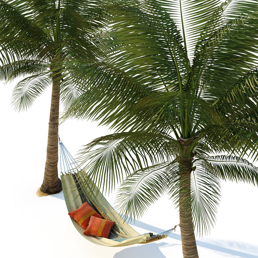 Hammock on palm trees royalty-free 3d model - Preview no. 2