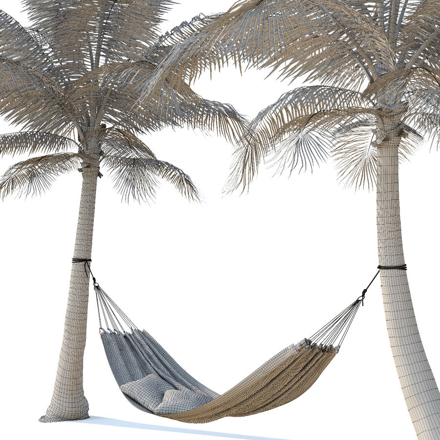 Hammock on palm trees royalty-free 3d model - Preview no. 6