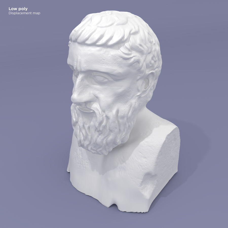 Plato Bust royalty-free 3d model - Preview no. 12