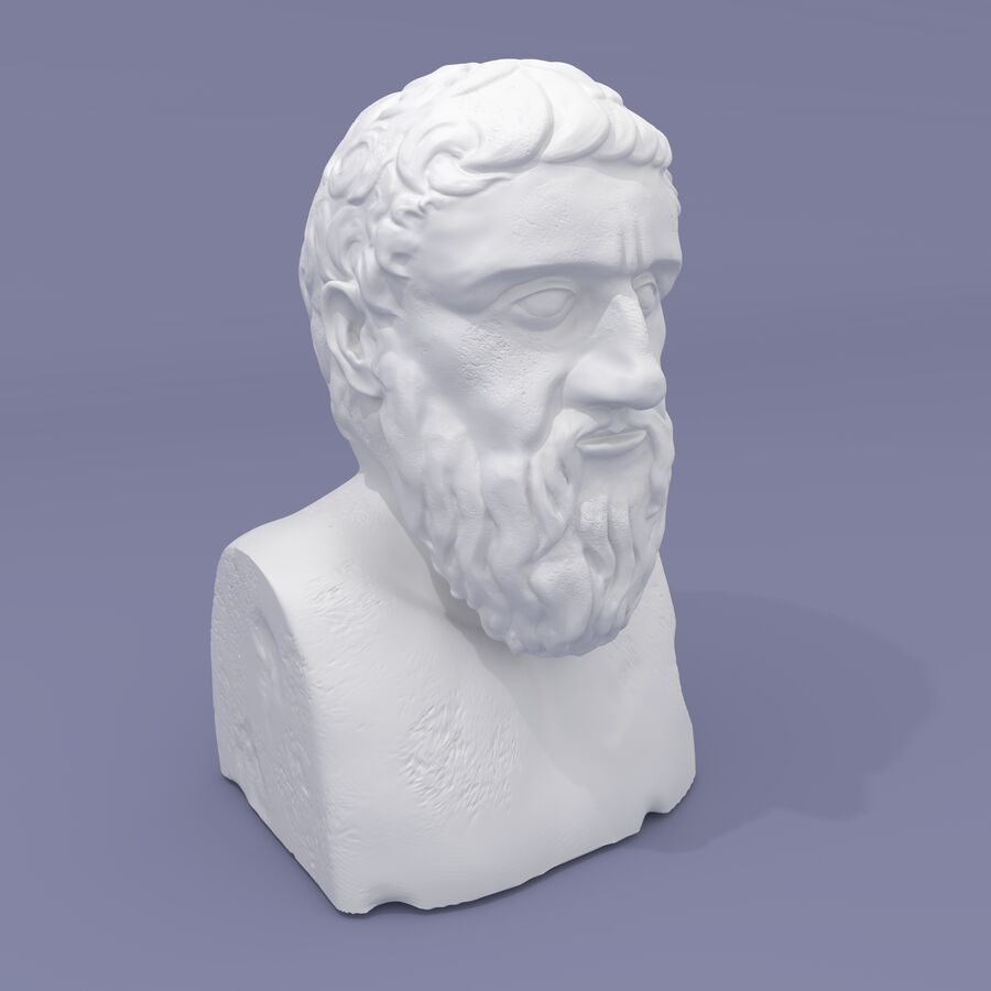Plato Bust royalty-free 3d model - Preview no. 2