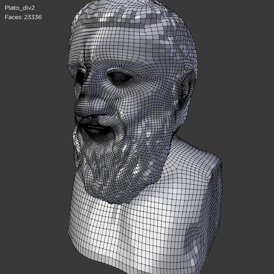 Plato Bust royalty-free 3d model - Preview no. 9